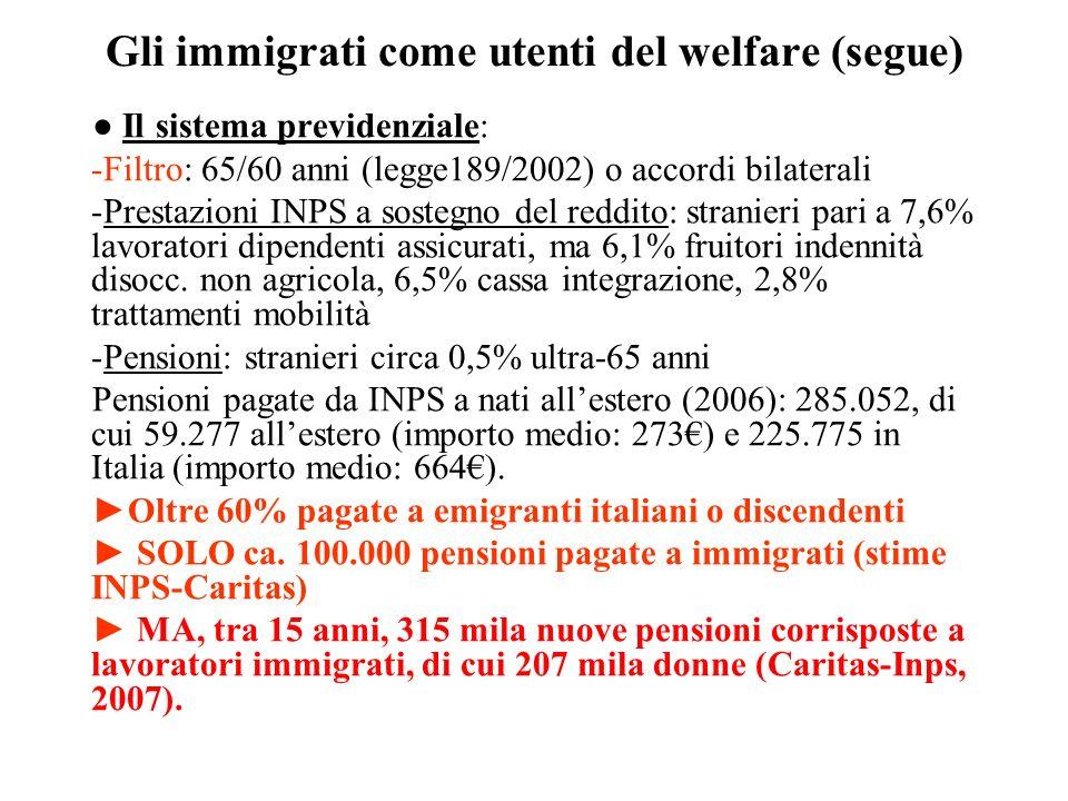 Gli immigrati come utenti del welfare (segue) Il sistema previdenziale: -Filtro: 65/60 anni (legge189/2002) o accordi bilaterali -Prestazioni INPS a s