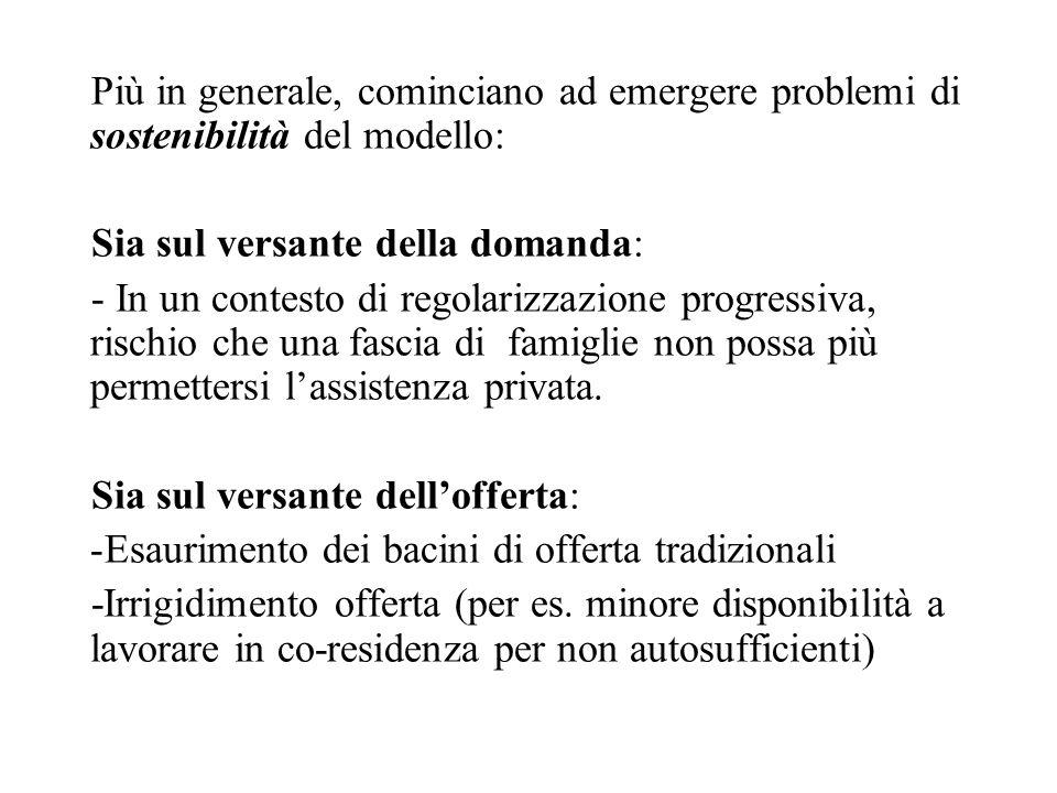 Più in generale, cominciano ad emergere problemi di sostenibilità del modello: Sia sul versante della domanda: - In un contesto di regolarizzazione pr