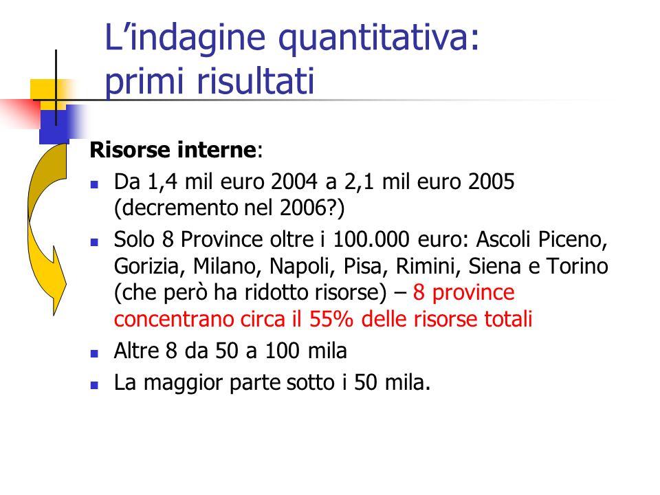 Lindagine quantitativa: primi risultati Risorse interne: Da 1,4 mil euro 2004 a 2,1 mil euro 2005 (decremento nel 2006?) Solo 8 Province oltre i 100.0