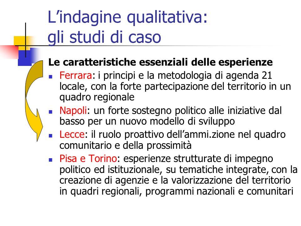 Lindagine qualitativa: gli studi di caso Le caratteristiche essenziali delle esperienze Ferrara: i principi e la metodologia di agenda 21 locale, con