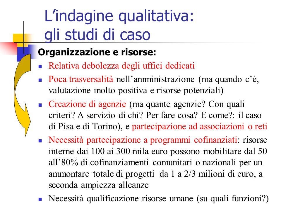 Lindagine qualitativa: gli studi di caso Organizzazione e risorse: Relativa debolezza degli uffici dedicati Poca trasversalità nellamministrazione (ma