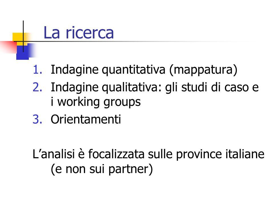 La ricerca 1.Indagine quantitativa (mappatura) 2.Indagine qualitativa: gli studi di caso e i working groups 3.Orientamenti Lanalisi è focalizzata sull