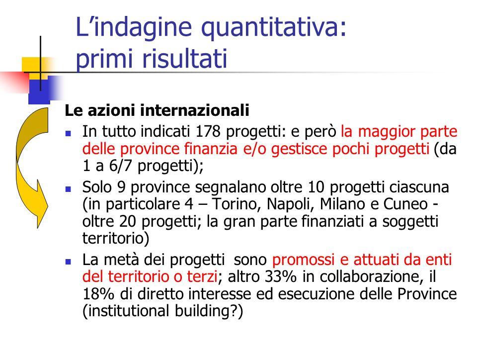 Lindagine quantitativa: primi risultati Le azioni internazionali In tutto indicati 178 progetti: e però la maggior parte delle province finanzia e/o g