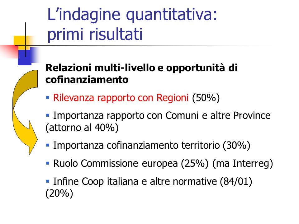 Lindagine quantitativa: primi risultati Relazioni multi-livello e opportunità di cofinanziamento Rilevanza rapporto con Regioni (50%) Importanza rappo