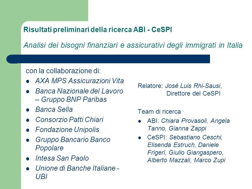 Aspettative dei migranti e alcune previsioni delle banche I migranti Fattori da migliorare Minori costi (71%) Riduzione ostacoli burocratici (45%) Maggiore disponibilità alla concessione del credito (31%) Uguale trattamento con gli italiani (27%) Migliore comunicazione (24%) Più flessibilità orari (19%) Migliore informazione/formazione (15%) Più servizi (9%) Più attenzione a fattori religiosi (6%) Le banche Previsioni Più flessibilità dei requisiti in entrata.