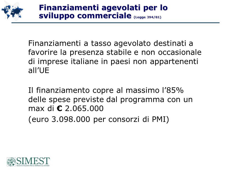 Finanziamenti agevolati per lo sviluppo commerciale (Legge 394/81) Finanziamenti a tasso agevolato destinati a favorire la presenza stabile e non occasionale di imprese italiane in paesi non appartenenti allUE Il finanziamento copre al massimo l85% delle spese previste dal programma con un max di 2.065.000 (euro 3.098.000 per consorzi di PMI)