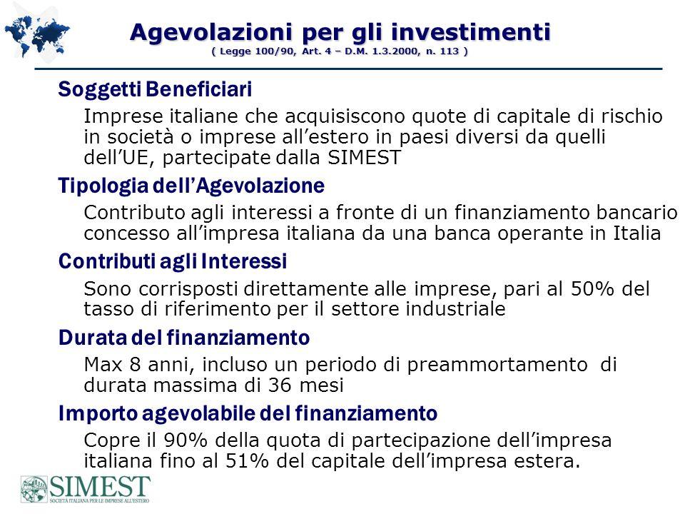 società locale Italiano SIMEST + Fondo di VC Fino al 49% del capitale Partner privati Locale Riduzione interessi sul finanziamento quota italiana SIMEST e il Fondo di Venture Capital