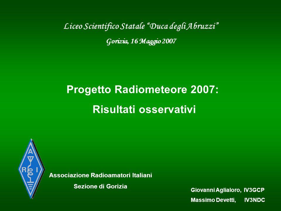 Liceo Scientifico Statale Duca degli Abruzzi Gorizia, 16 Maggio 2007 Associazione Radioamatori Italiani Sezione di Gorizia Giovanni Aglialoro, IV3GCP
