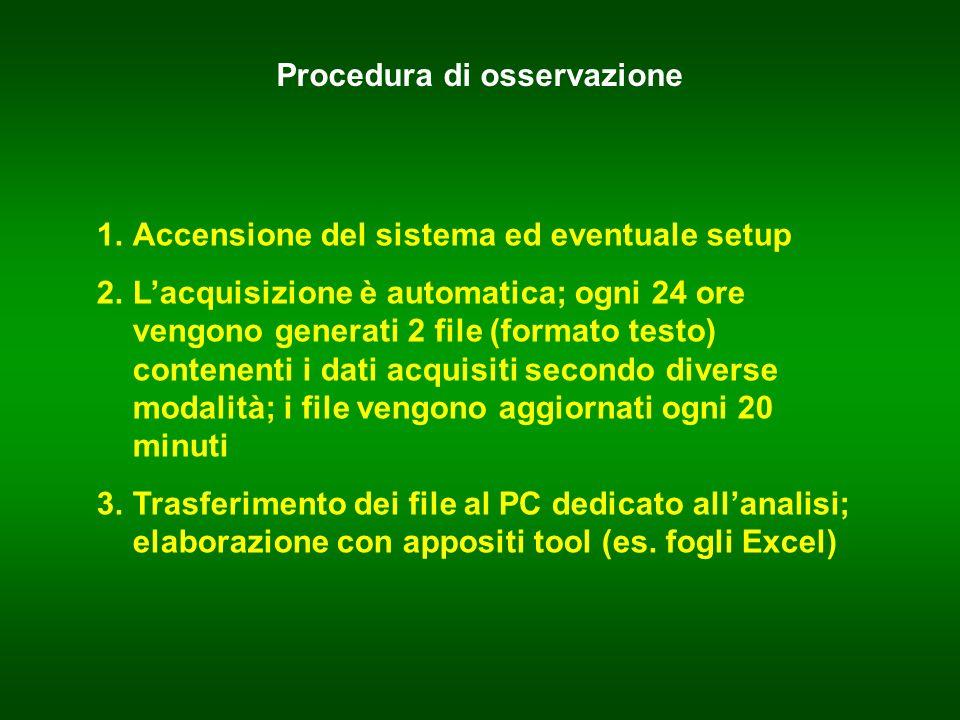 Procedura di osservazione 1.Accensione del sistema ed eventuale setup 2.Lacquisizione è automatica; ogni 24 ore vengono generati 2 file (formato testo