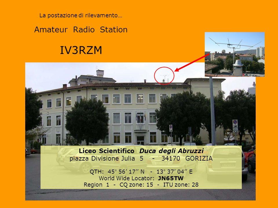 La postazione di rilevamento… Amateur Radio Station IV3RZM Liceo Scientifico Duca degli Abruzzi piazza Divisione Julia 5 - 34170 GORIZIA QTH: 45° 56 17 N - 13° 37 04 E World Wide Locator: JN65TW Region 1 - CQ zone: 15 - ITU zone: 28