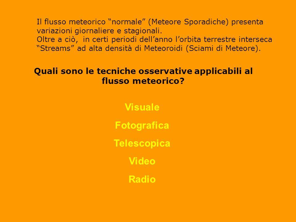 Il flusso meteorico normale (Meteore Sporadiche) presenta variazioni giornaliere e stagionali.
