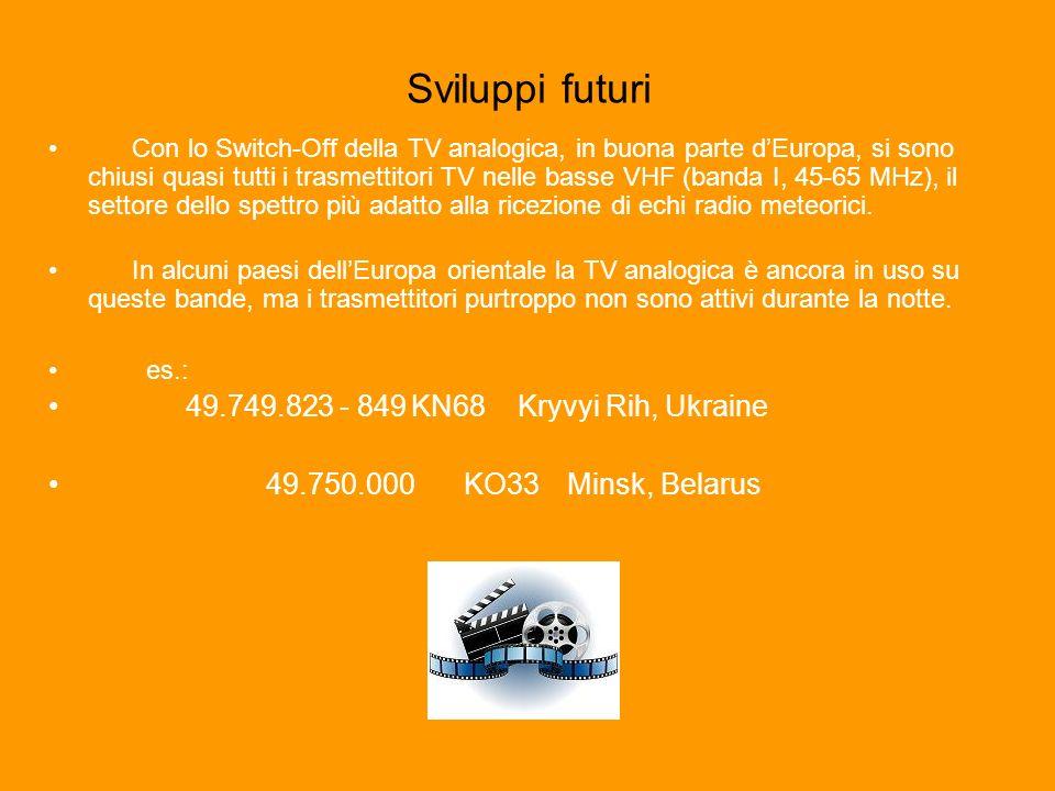 Sviluppi futuri Con lo Switch-Off della TV analogica, in buona parte dEuropa, si sono chiusi quasi tutti i trasmettitori TV nelle basse VHF (banda I, 45-65 MHz), il settore dello spettro più adatto alla ricezione di echi radio meteorici.