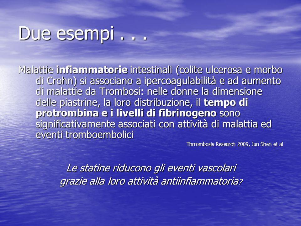 Due esempi... Malattie infiammatorie intestinali (colite ulcerosa e morbo di Crohn) si associano a ipercoagulabilità e ad aumento di malattie da Tromb