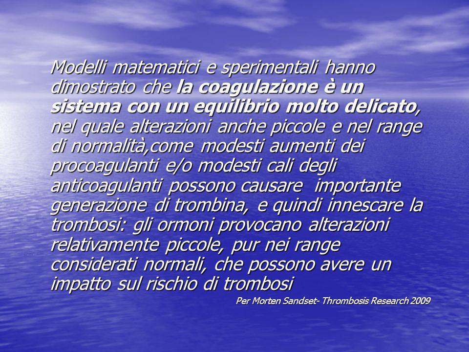 Modelli matematici e sperimentali hanno dimostrato che la coagulazione è un sistema con un equilibrio molto delicato, nel quale alterazioni anche picc