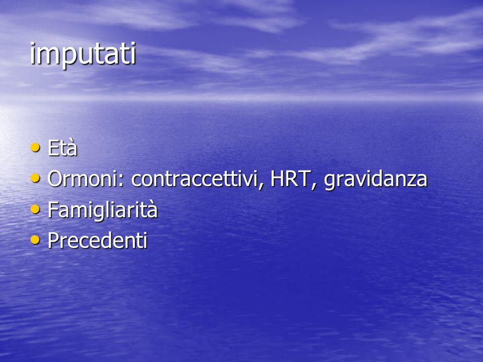 imputati Età Età Ormoni: contraccettivi, HRT, gravidanza Ormoni: contraccettivi, HRT, gravidanza Famigliarità Famigliarità Precedenti Precedenti