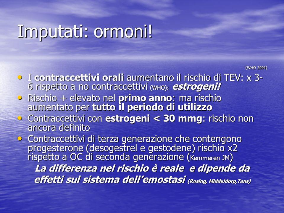 Imputati: ormoni! (WHO 2004) (WHO 2004) I contraccettivi orali aumentano il rischio di TEV: x 3- 6 rispetto a no contraccettivi (WHO): estrogeni! I co