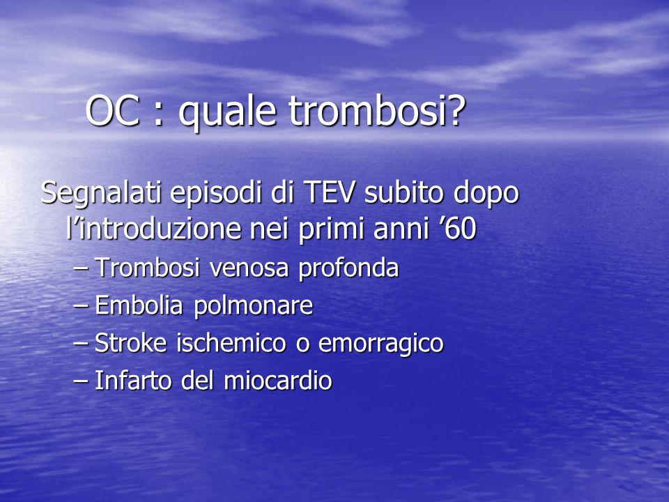 OC : quale trombosi? Segnalati episodi di TEV subito dopo lintroduzione nei primi anni 60 –Trombosi venosa profonda –Embolia polmonare –Stroke ischemi