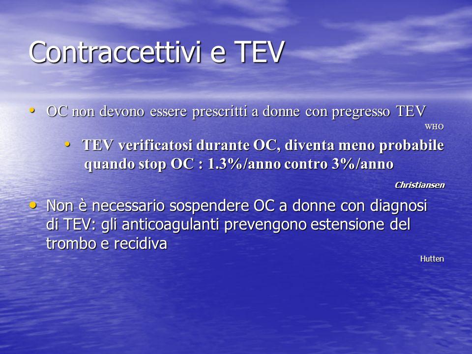 Contraccettivi e TEV OC non devono essere prescritti a donne con pregresso TEV OC non devono essere prescritti a donne con pregresso TEVWHO TEV verifi