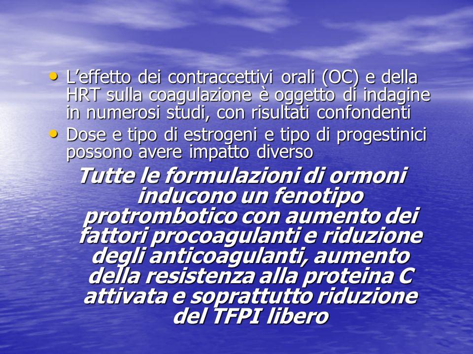 Leffetto dei contraccettivi orali (OC) e della HRT sulla coagulazione è oggetto di indagine in numerosi studi, con risultati confondenti Leffetto dei