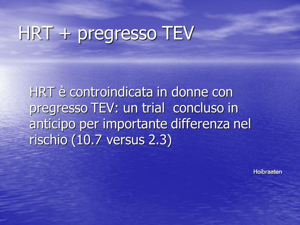 HRT + pregresso TEV HRT è controindicata in donne con pregresso TEV: un trial concluso in anticipo per importante differenza nel rischio (10.7 versus 2.3) Hoibraaten