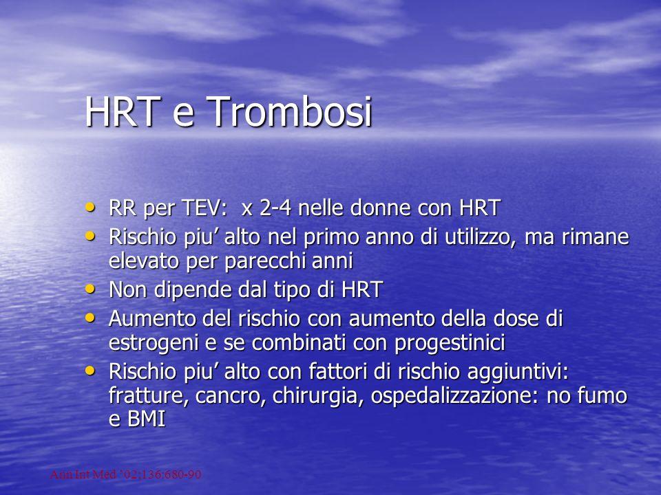HRT e Trombosi RR per TEV: x 2-4 nelle donne con HRT RR per TEV: x 2-4 nelle donne con HRT Rischio piu alto nel primo anno di utilizzo, ma rimane elev