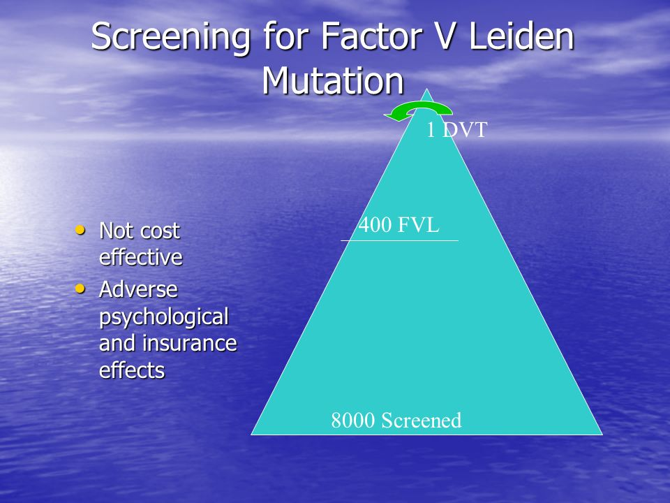 Screening for Factor V Leiden Mutation Not cost effective Not cost effective Adverse psychological and insurance effects Adverse psychological and ins