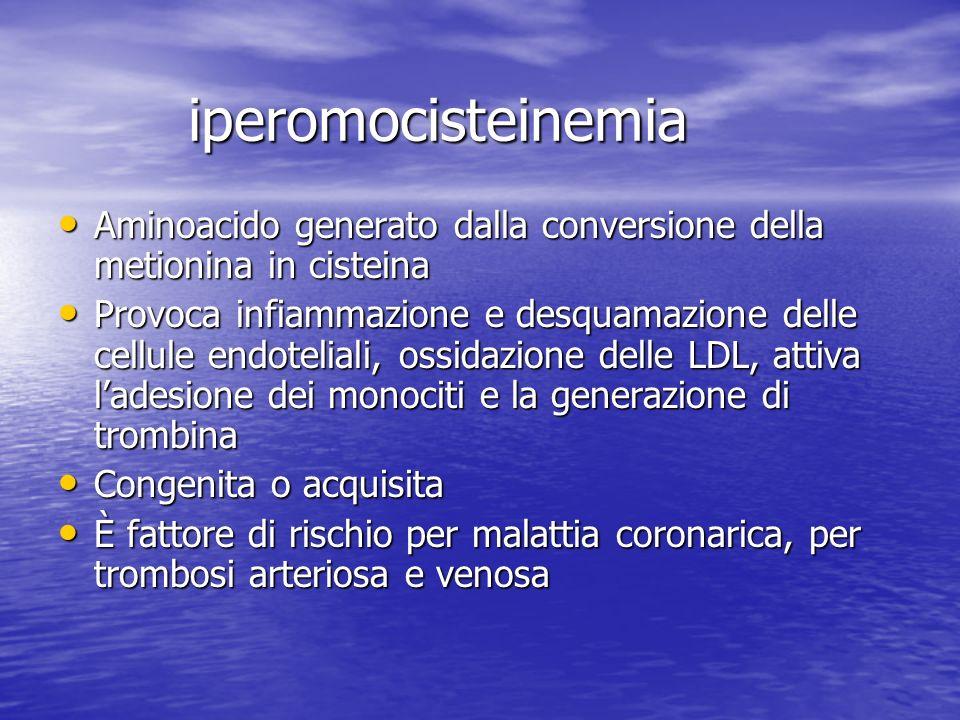 iperomocisteinemia Aminoacido generato dalla conversione della metionina in cisteina Aminoacido generato dalla conversione della metionina in cisteina
