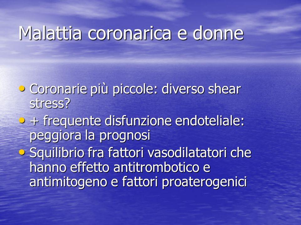 Malattia coronarica e donne Coronarie più piccole: diverso shear stress? Coronarie più piccole: diverso shear stress? + frequente disfunzione endoteli