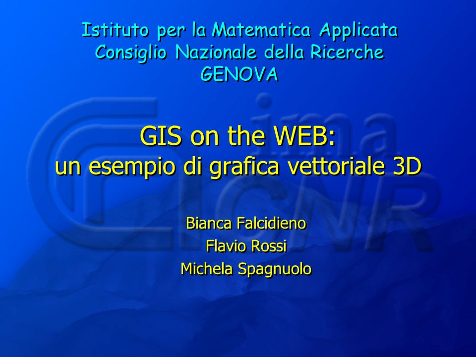 Bianca Falcidieno - Flavio Rossi - Michela Spagnuolo22 Progetto metadata #VRML V2.0 utf8 PROTO Metadata [ field MFString url [] eventIn MFString set_url eventOut MFString url_changed eventIn MFString elementID eventOut MFString elementIDs eventOut SFString tagName eventOut MFString attributeNames eventOut MFString attributeValues eventOut MFString childElements eventOut MFString childElementTypes eventOut MFString childElementTags eventOut MFString childElementContents ] { Script {url metadata.class } } definizione del nodo Metadata Manuale di VRML File XML #VRML V2.0 utf8 EXTERNPROTO Metadata [....] metadata.wrl DEF books Metadata { url [ books.xml ]} DEF S1 Script { eventOut SFString bookID url javascript: function initialize() { bookID = vrml20 ;} } Shape { geometry DEF libro Text { string [ ] fontStyle DEF Font FontStyle { size 2 justify MIDDLE style BOLD }}} ROUTE S1.bookID TO books.elementID ROUTE books.attributeNames TO libro.set_string File VRML Contact the author at: dlipkin@us.oracle.com