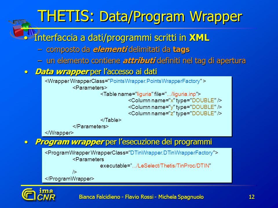 Bianca Falcidieno - Flavio Rossi - Michela Spagnuolo12 THETIS: Data/Program Wrapper Interfaccia a dati/programmi scritti in XMLInterfaccia a dati/prog