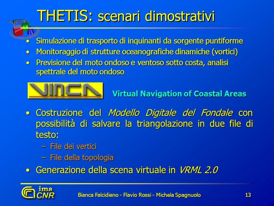 Bianca Falcidieno - Flavio Rossi - Michela Spagnuolo13 THETIS: scenari dimostrativi Simulazione di trasporto di inquinanti da sorgente puntiformeSimul