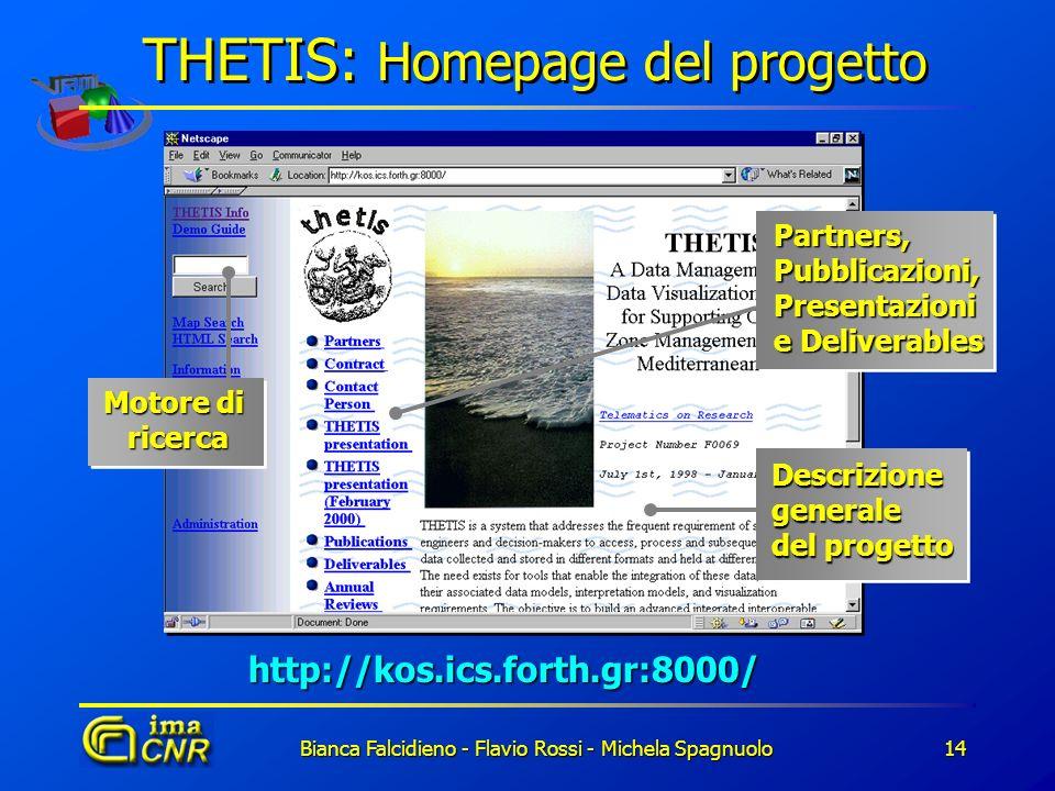 Bianca Falcidieno - Flavio Rossi - Michela Spagnuolo14 THETIS: Homepage del progetto http://kos.ics.forth.gr:8000/ Descrizione generale del progetto P