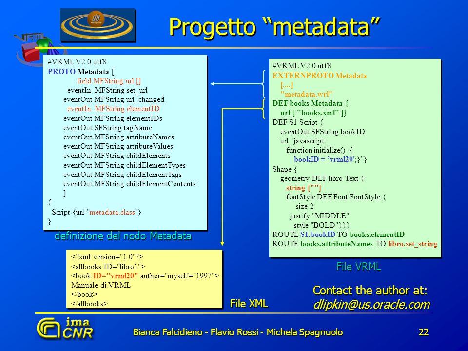 Bianca Falcidieno - Flavio Rossi - Michela Spagnuolo22 Progetto metadata #VRML V2.0 utf8 PROTO Metadata [ field MFString url [] eventIn MFString set_u