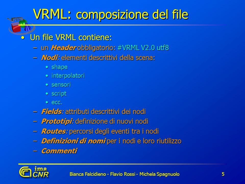 Bianca Falcidieno - Flavio Rossi - Michela Spagnuolo5 VRML: composizione del file Un file VRML contiene:Un file VRML contiene: –un Header obbligatorio