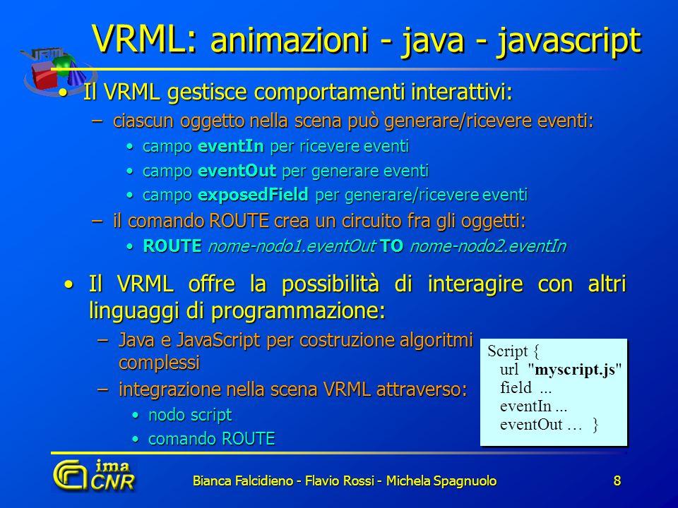Bianca Falcidieno - Flavio Rossi - Michela Spagnuolo8 VRML: animazioni - java - javascript Il VRML gestisce comportamenti interattivi:Il VRML gestisce