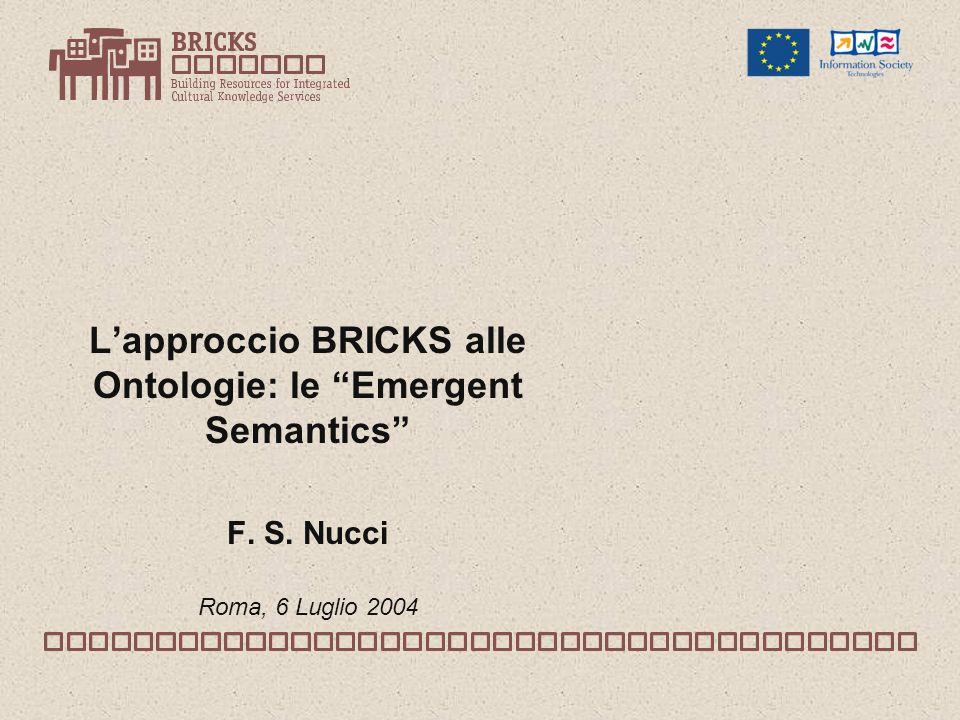 Lapproccio BRICKS alle Ontologie: le Emergent Semantics F. S. Nucci Roma, 6 Luglio 2004