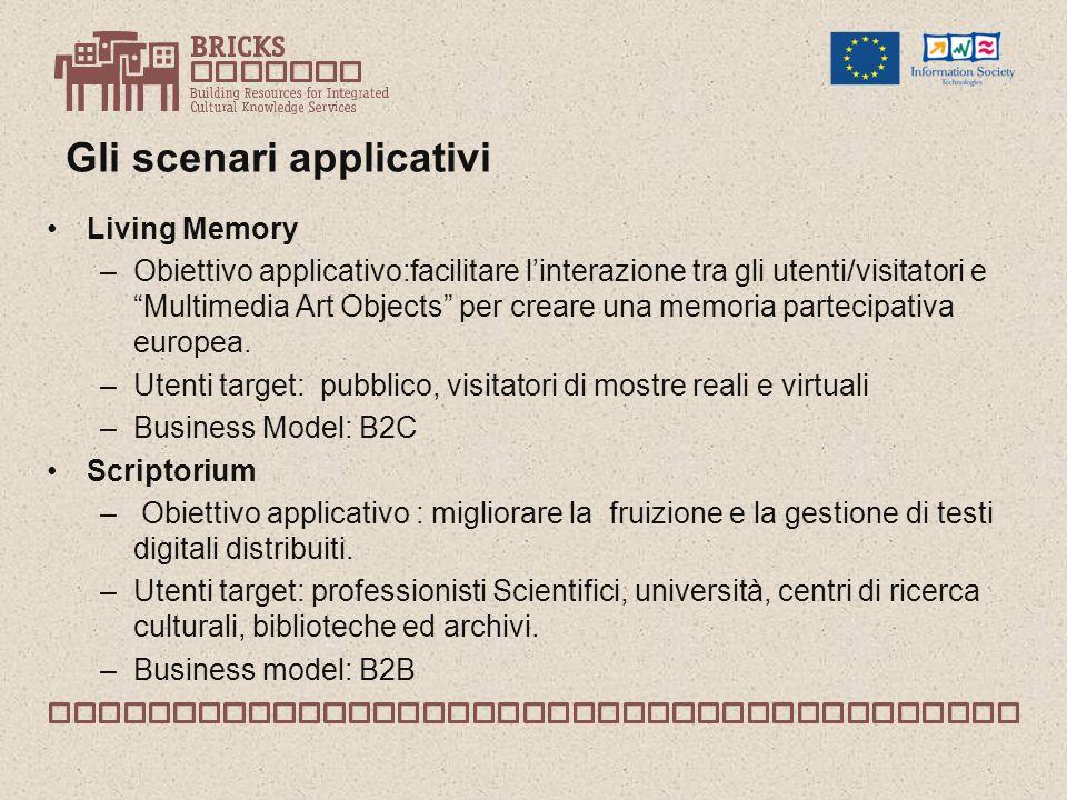 Gli scenari applicativi Living Memory –Obiettivo applicativo:facilitare linterazione tra gli utenti/visitatori e Multimedia Art Objects per creare una memoria partecipativa europea.