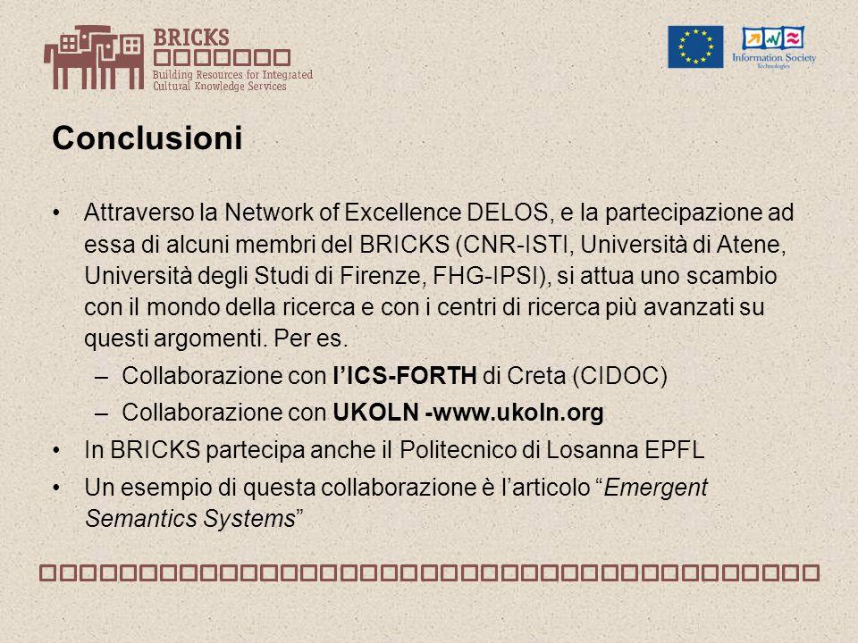 Conclusioni Attraverso la Network of Excellence DELOS, e la partecipazione ad essa di alcuni membri del BRICKS (CNR-ISTI, Università di Atene, Università degli Studi di Firenze, FHG-IPSI), si attua uno scambio con il mondo della ricerca e con i centri di ricerca più avanzati su questi argomenti.