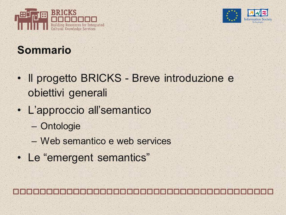 Sommario Il progetto BRICKS - Breve introduzione e obiettivi generali Lapproccio allsemantico –Ontologie –Web semantico e web services Le emergent semantics