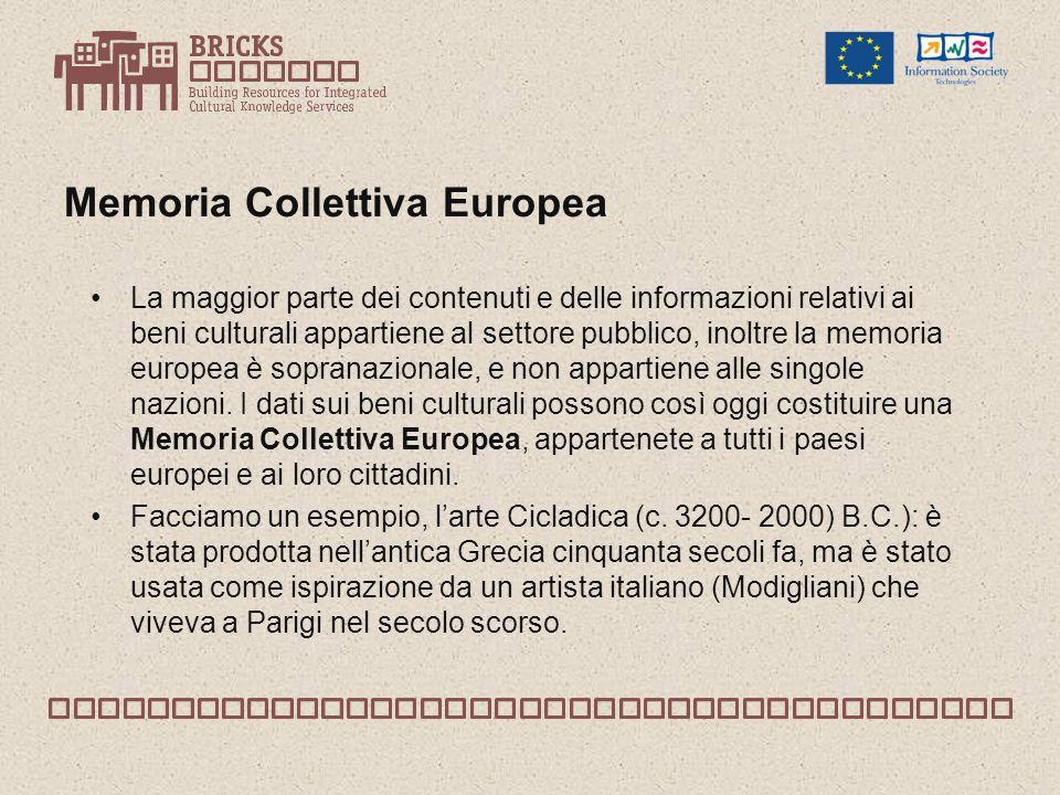 Memoria Collettiva Europea La maggior parte dei contenuti e delle informazioni relativi ai beni culturali appartiene al settore pubblico, inoltre la memoria europea è sopranazionale, e non appartiene alle singole nazioni.