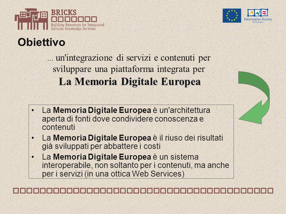 Obiettivo La Memoria Digitale Europea è un architettura aperta di fonti dove condividere conoscenza e contenuti La Memoria Digitale Europea è il riuso dei risultati già sviluppati per abbattere i costi La Memoria Digitale Europea è un sistema interoperabile, non soltanto per i contenuti, ma anche per i servizi (in una ottica Web Services)...