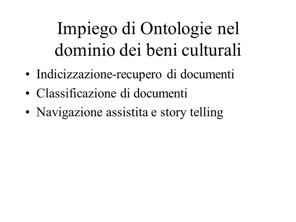 Impiego di Ontologie nel dominio dei beni culturali Indicizzazione-recupero di documenti Classificazione di documenti Navigazione assistita e story telling