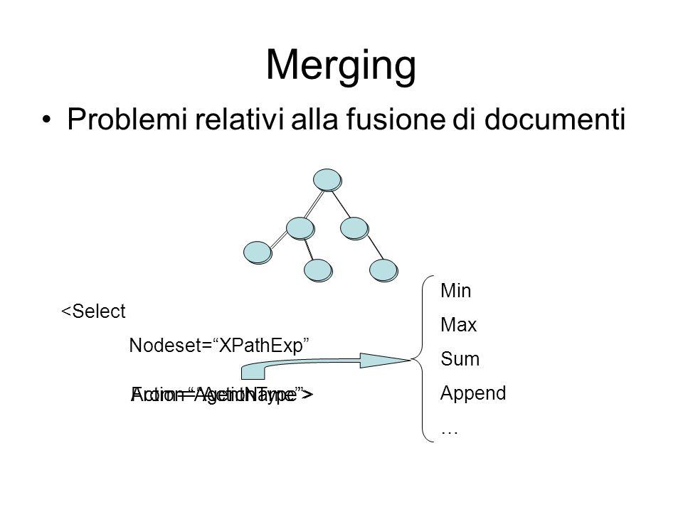 Merging Problemi relativi alla fusione di documenti <Select Nodeset=XPathExp From=AgentName> Min Max Sum Append … Action=ActionType>