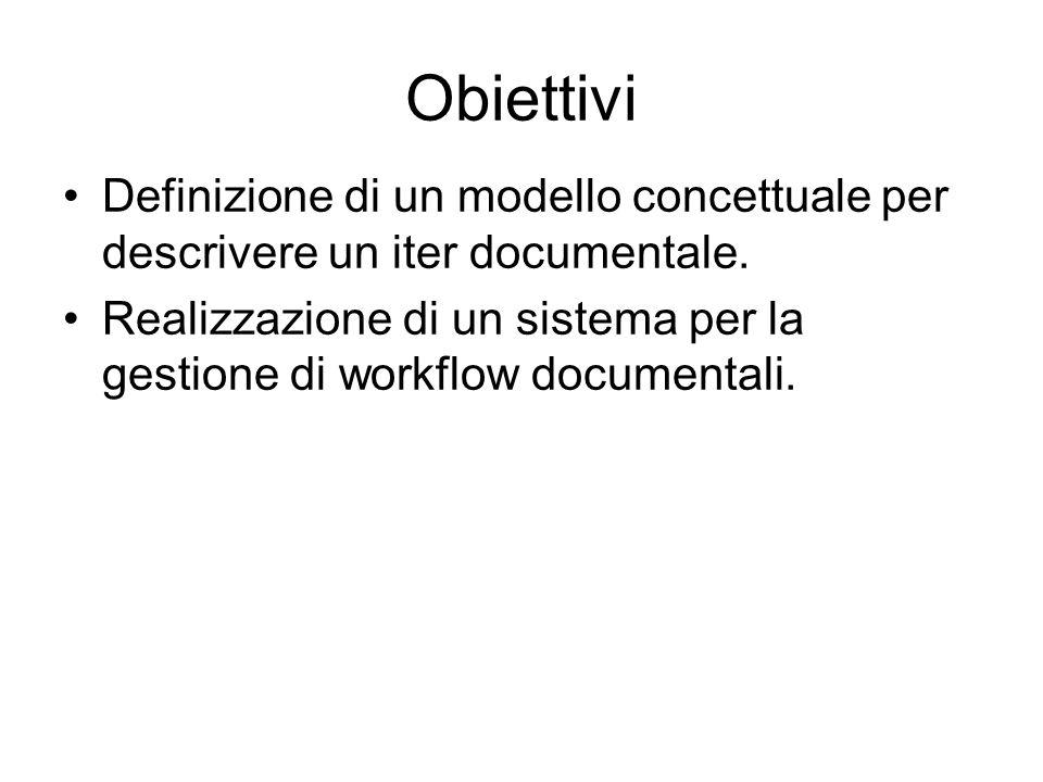 Obiettivi Definizione di un modello concettuale per descrivere un iter documentale. Realizzazione di un sistema per la gestione di workflow documental