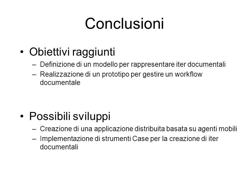 Conclusioni Possibili sviluppi –Creazione di una applicazione distribuita basata su agenti mobili –Implementazione di strumenti Case per la creazione