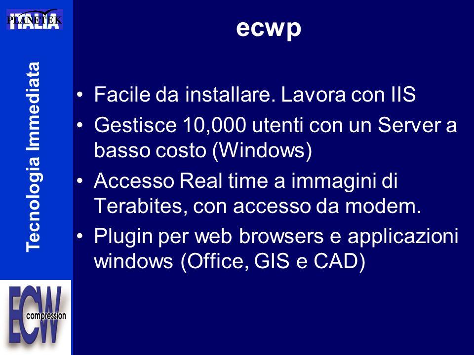 ecwp Facile da installare. Lavora con IIS Gestisce 10,000 utenti con un Server a basso costo (Windows) Accesso Real time a immagini di Terabites, con