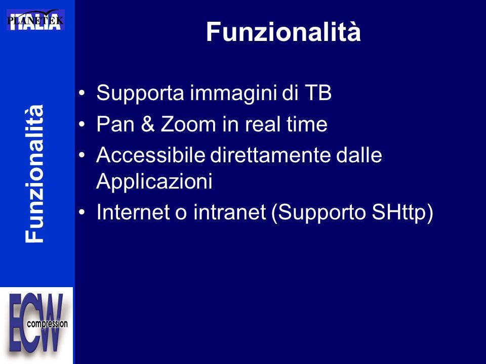 Funzionalità Supporta immagini di TB Pan & Zoom in real time Accessibile direttamente dalle Applicazioni Internet o intranet (Supporto SHttp) Funziona
