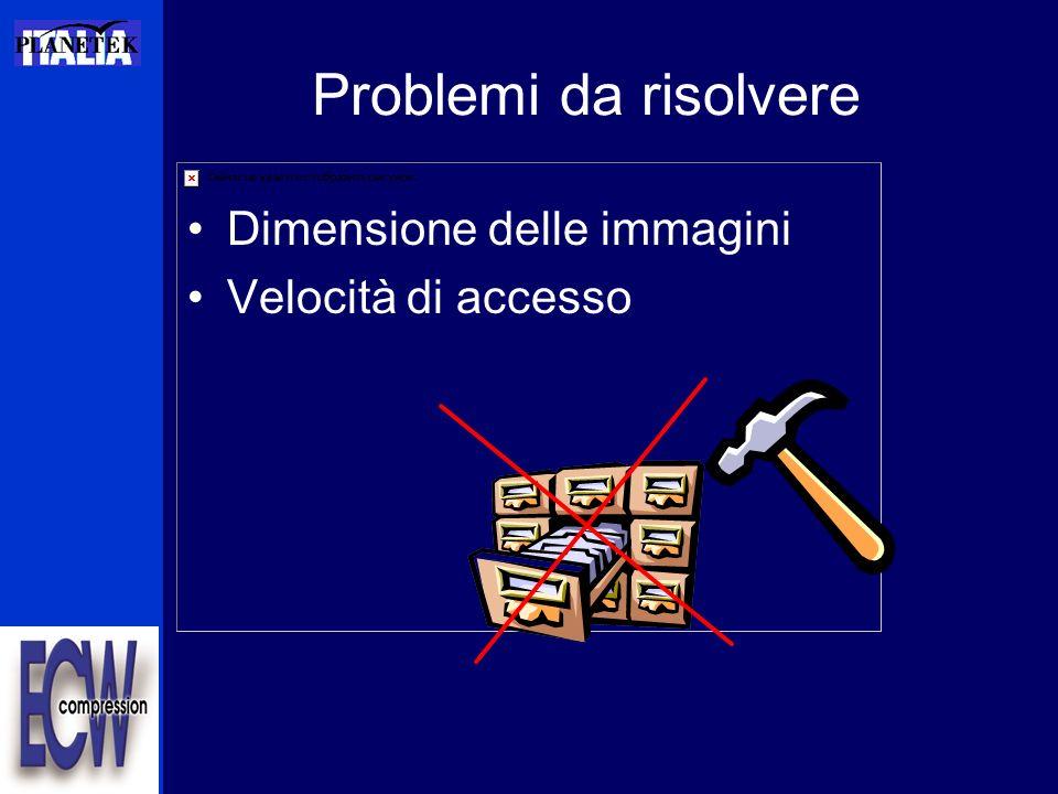 Problemi da risolvere Dimensione delle immagini Velocità di accesso