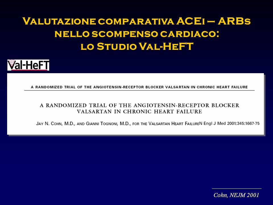 Valutazione comparativa ACEi – ARBs nello scompenso cardiaco: lo Studio Val-HeFT Cohn, NEJM 2001