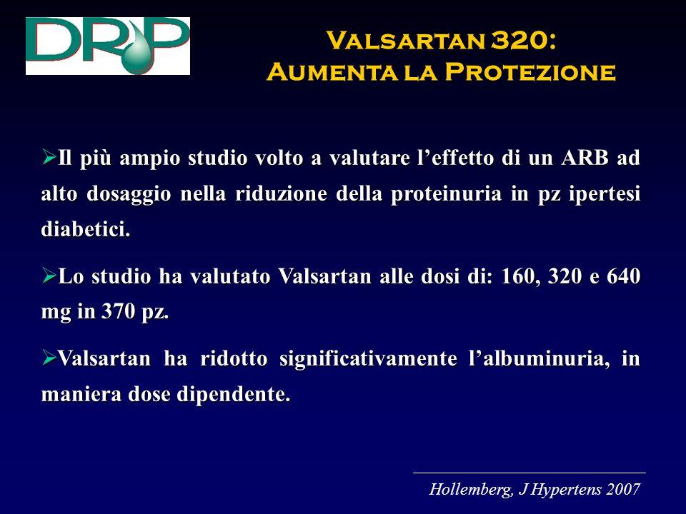 Il più ampio studio volto a valutare leffetto di un ARB ad alto dosaggio nella riduzione della proteinuria in pz ipertesi diabetici.